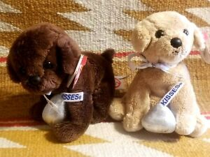 RARE TAG! 2 TY BEANIE BABY DOGS MORSEL CHOCOLATE KISS - HERSHEY'S Walgreens Excl