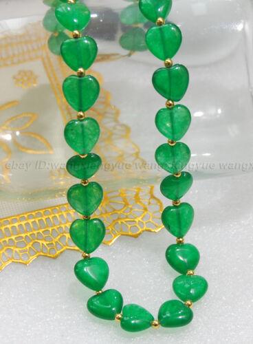 """18/"""" 25/"""" 36/"""" 12 mm Vert naturel jade gems Coeur Forme Perles Pendentifs Collier AAA"""