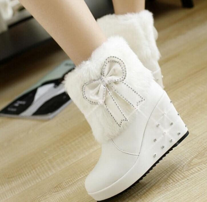 Women's warm Faux Fur Ankle Riding Boots High Wedge Platform Bow Knot shoes