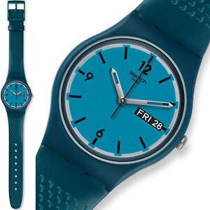 Swatch-Gent-Reloj-Hombre-Mujer-Azul-Raro-Coleccionable-Blue-Bottle-Nuevo-Raro