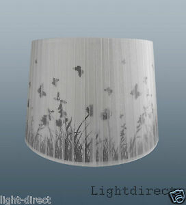 Meadow Flower Butterfly Wilderness Lampshade Grey White