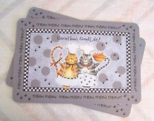 Cat Placemat Set Happy Cat Pattern Kay Dee Vinyl Laminated Set