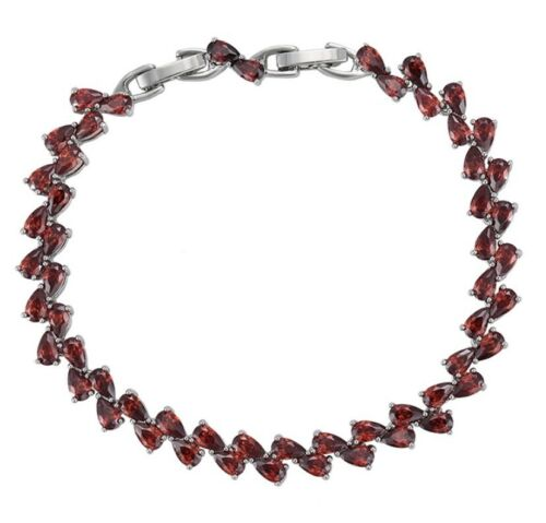Relleno de plata esterlina 925 Pulsera De Piedras Preciosas Rojo Granate
