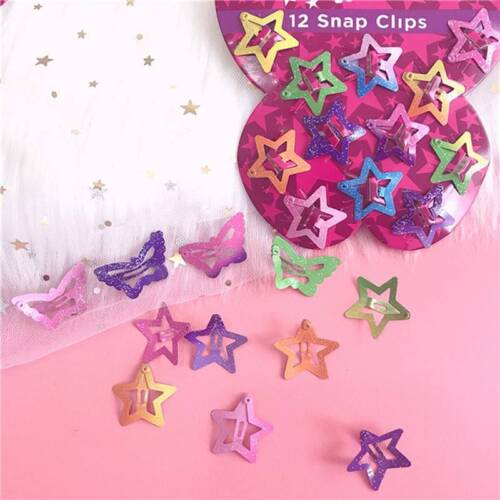 12Pcs Shiny Star Butterfly Hair Clips For Girls Baby Kids Head Hair Accessories