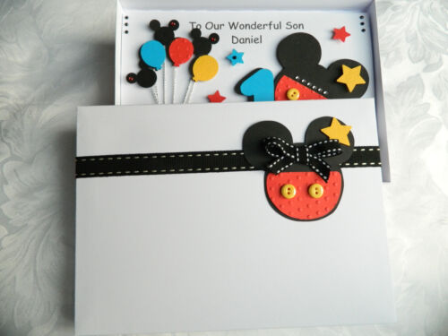 Girl Any Age 1 2 5 4 Handmade Personalised Mickey Mouse Birthday Card Boy 3
