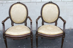 Gorgeous-Pair-of-French-Louis-XV-Walnut-Heavily-Carved-Fauteuils-Side-Chairs-19c