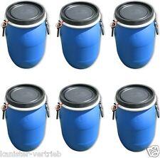 4 x 30 L Deckelfass Kunststofftonne Plastikfass Behälter schwarz mit Tragegriffe