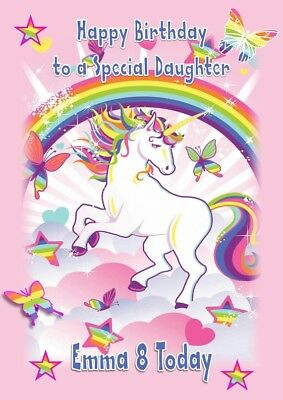 any age Daughter Niece Personalised Handmade Unicorn Birthday Card Sister