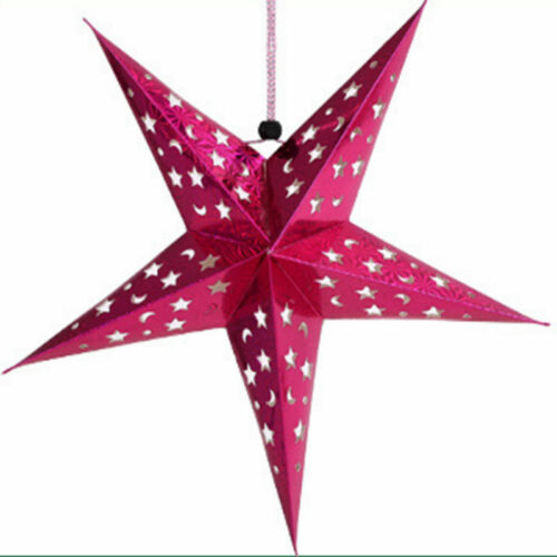 UK 2PCS 3D Hollow Paper String Hanging Star Party Decor Christmas ...