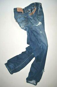 LEVIS-501-Vintage-Jeans-en-cuir-W30-L32-Men-039-s-Rip-Repair-Motard-Coupe-Droite-Surf