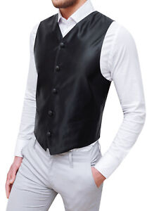 a5e9001cc6 panciotto gilet uomo sartoriale nero in raso elegante formale 100 ...