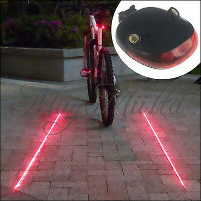 5LED 2 Laser Beam Bicycle Bike MTB Cycle Rear Flash Light Red Safety Tail Lamp I