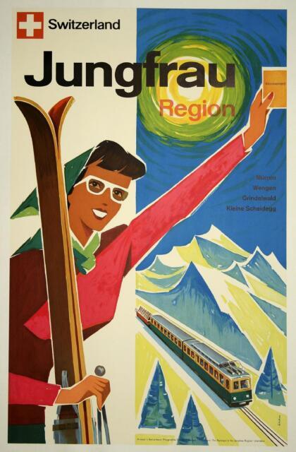 Suisse Jungfrau Région VINTAGE SKI/Affiche de voyage A1,A2,A3,A4