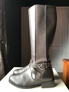Brown 38 High 5 Shoe Debenhams Size Boot donna Leather Heel Knee Ladies PPq0w1R