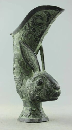 Asia Collectible Decorated Old Handwork Bronze Carved Rabbit Gecko Vase