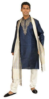 Blue  Men Kurta Designer Indian Wedding Formal Clothing W Free shawl  pants