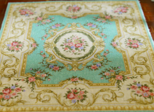 Classic French Style VTG Swirls Roses Floral Blue Dollhouse 1//12 Scale Rug