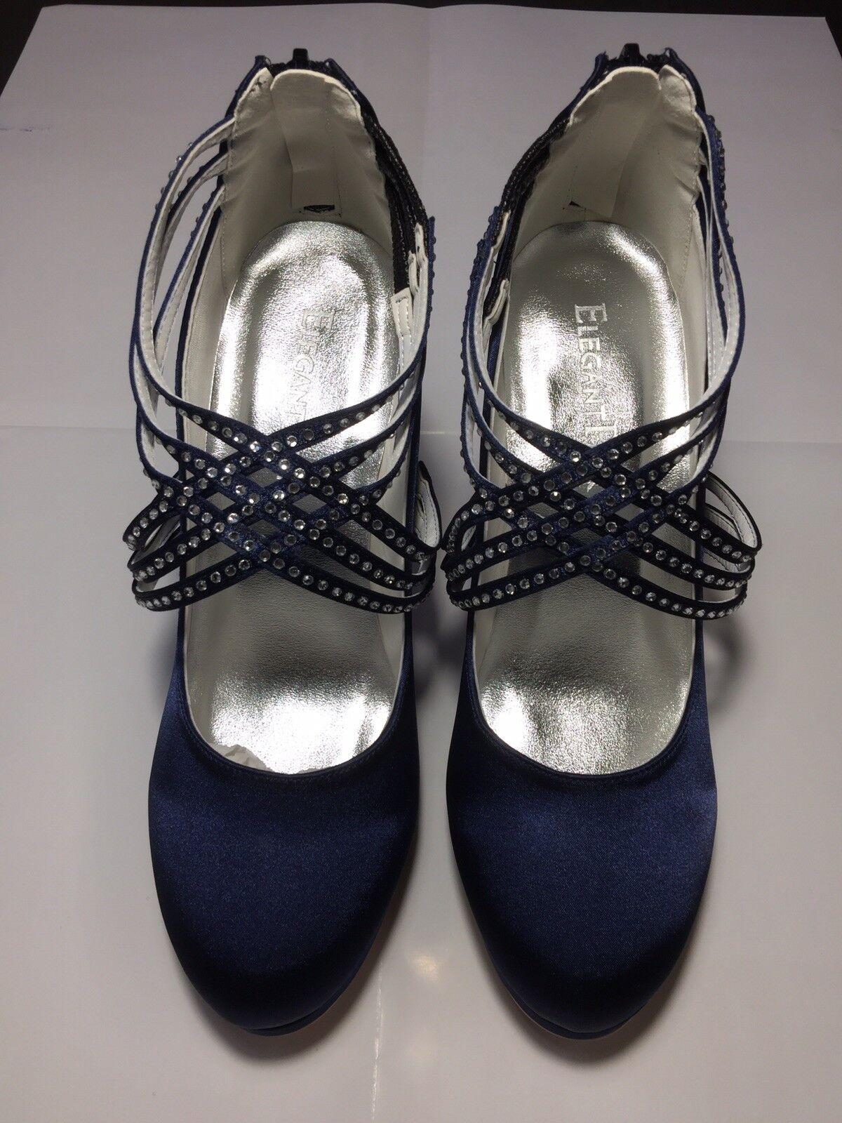Ladies diamante sandals size 38 bluee Colour Satin Heel 4 Christmas Gift