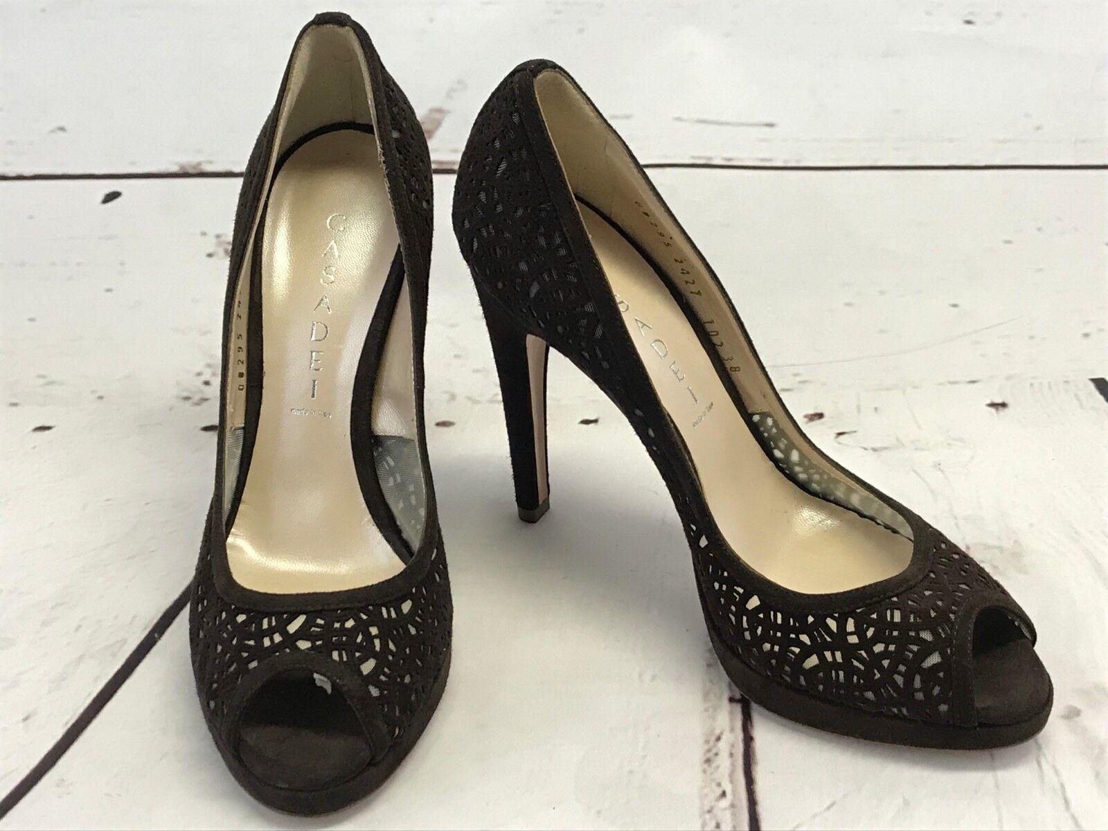 CASADEI Marrón Estampado recorte recorte recorte para mujeres Zapatos De Taco Alto Zapatos De Salón Italia 38 US 8  mejor servicio