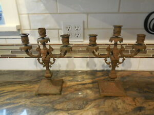 2-Vintage-Rococo-Ornate-Brass-Candelabras-HEAVY-FREE-SHIPPING