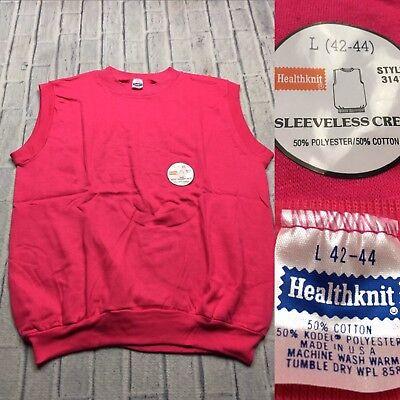 80s VTG nwt HEALTHKNIT Made USA Sleeveless M Blank Sweatshirt Gym Surf Raglan