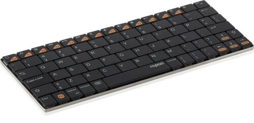 1 von 1 - RAPOO E6300 Mobile Keyboard, E6300, Bluetooth, iOS/Mac OS X, Black (DEU Layout -