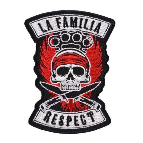 Aufnäher Aufbügler La Familia RESPECT 10 cm schädel patch hardcore biker oldscho