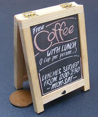 1:12 Scale Coffee Advertising Tumdee Dolls House Pub Cafe Sandwich Wood Board P2