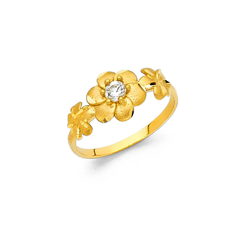 14k Solid Yellow gold Diamond Hawaiian Plumeria Three Flower Ring 1.6 grams 6 mm