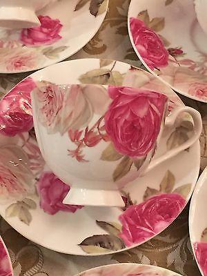 Stechcol Gracie Bone China LITE Pink Rose One Tea Cup & Saucer NEW
