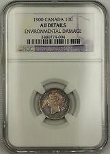 1900 Canada Silver 10c Coin NGC AU Details Environ. Damage (Better Choice BU)