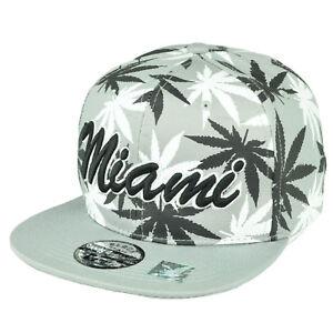 84e1b7a02d6 Miami Florida Sunshine State Marijuana Gray Weed Leaf Snapback Flat ...