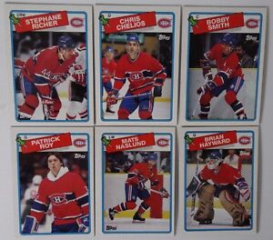 1988-89-Topps-Montreal-Canadiens-Team-Set-of-6-Hockey-Cards