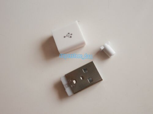 5X USB 2.0 Type-A Plug 4-pin Male Adapter Solder Connector /& White Cover 3-Piece