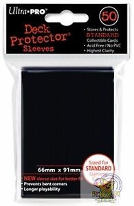 50 Ultra Pro Deck Protector Sleeves Black 66mm x 91mm card sleeves Pokemon mtg