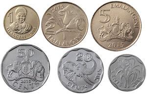 SWAZILAND SET 7 COINS 5 10 20 50 CENT 1 2 5 EMALAGENI 1999-2010 UNC