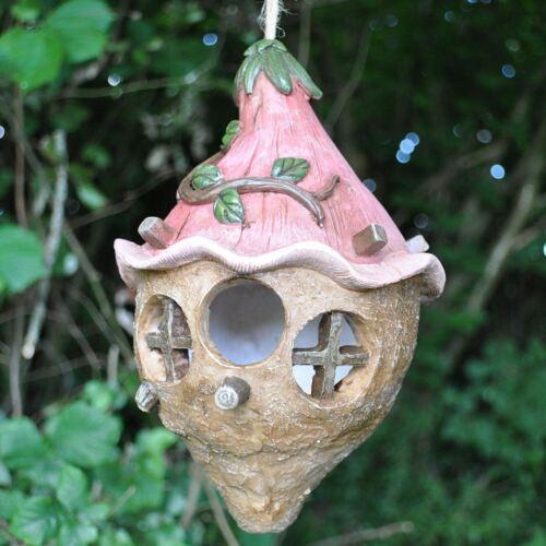 BIRD House Feeder rosa FLOWER FAIRY Decorazione Giardino Decorazioni VOLATILI nido Hotel