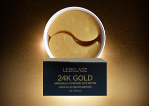 Korea-Cosmetic-LEBELAGE-24K-Gold-Ampoule-Hydrogel-Eye-Patch-90g-60Sheets