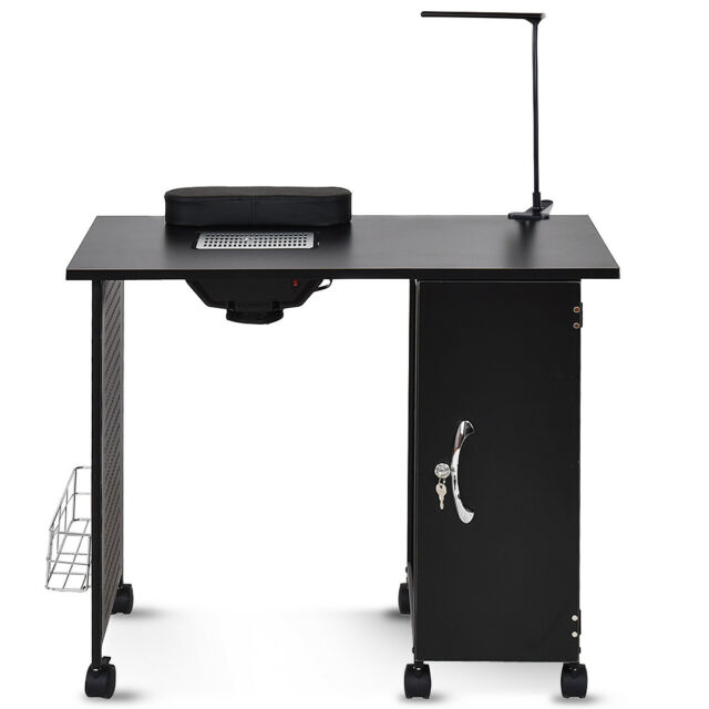 good Black Nail Table Part - 14: Manicure Nail Table Station Black Steel Frame Beauty Spa Salon Equipment  Drawer