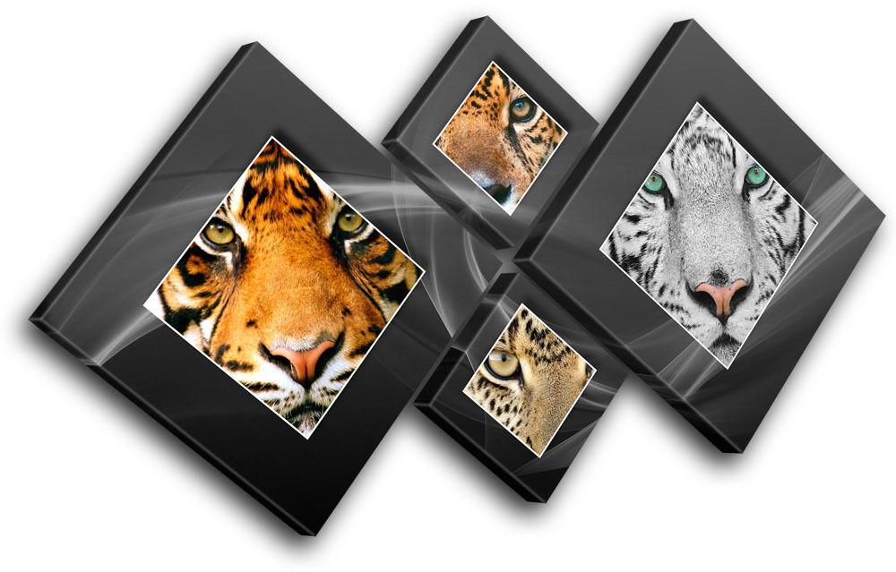 Tiger Lion Cheetah Cheetah Cheetah  Animals MULTI TELA parete arte foto stampa 157f41