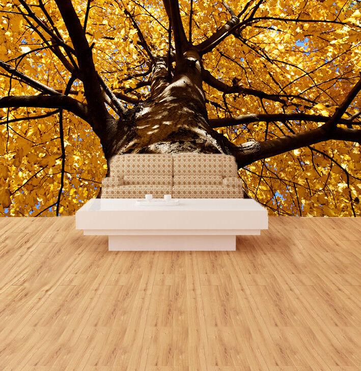 3D goldene Blätter Baum 753 Tapete Wandgemälde Tapete Tapeten Bild Familie DE