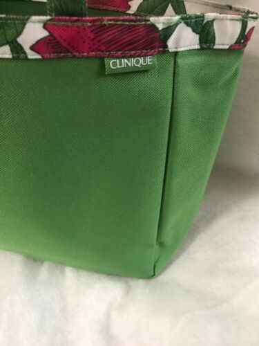 Clinique Green With Flower Trim Tote Bag
