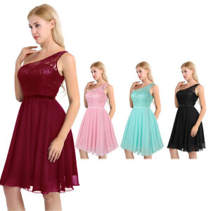 f07837f06d Image is loading Women-Lace-Formal-Wedding-Bridesmaid-Evening-Party-Ball-