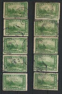 Canada-155-Mt-Hurd-1928-Commemorative-Used-Lot-of-10-Retail-Value-25-00