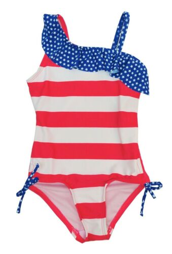 So Girls Size 4 5//6 Red White Blue Stars Stripes Flag UPF 50 One Piece Swimsuit