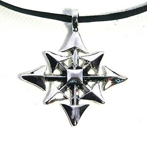 Chaos-Star-Gothic-Metal-Pewter-Pendant-Necklace-Choker-Black-Cord-ADJUSTABLE