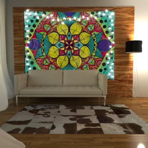 Mandala Flowers Wandteppich Kunst Wandbehang Tisch Bettdecke Poster