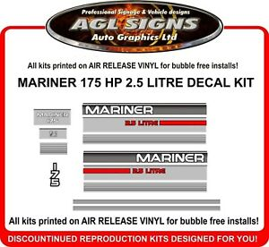 1990 1991 1992 1993 MERCURY MARINER 115 HP Outboard Decal Kit  Reproductions 90