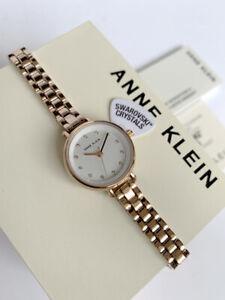 Anne Klein Watch * 2662SVRG Swarovski Dial Slim Rose Gold Steel Bracelet Women