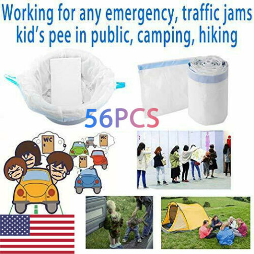 56Pcs Commode Liners Toilet Bag with Absorbent Pad For Camping Travel Emergency